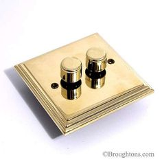 Edwardian Brass Dimmer Switch 2 Gang 250W
