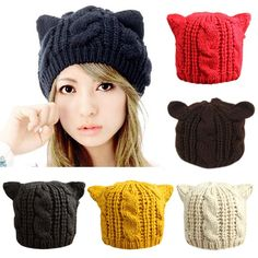 This women's crocheted and braided wool knit cat ear beanie is perfect for winter! It features a super cute special cat ear design. With it's soft and comfortable fabric, your head will stay warm whil