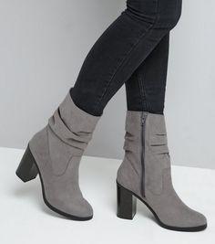 bfba34002af Grey Suedette Slouchy Block Heel Mid Calf Boots