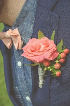 Rustic Groom Style|Coral, Pink, & Peach Missouri Spring Wedding|Photographer: Your Story by Jeremy