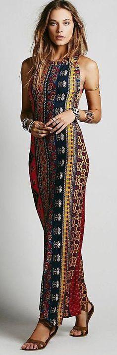 Blue Floral Print Cross Back Backless Sleeveless National Boho Style Maxi Dress - Maxi Dresses - Dresses