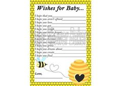 Bumble Bee Themed Baby Shower   Bumble Bee Baby Shower Game Bee Theme Baby by BabyShowerBakery, $5.50