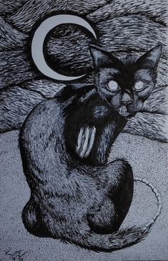 Conversation Around A Zombie Cat by EclecticEye888 on Etsy, $120.00