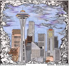 Seattle Illustration, pen, Ink, Pantoni  Artist: Sara Scarpaci