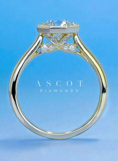Custom Design Vintage Diamond Engagement Ring by Ascot Diamonds #ascotdiamonds