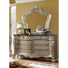 Wonderful Shop For Furniture Of America Therese Luxury 2 Piece Gold Dresser And  Mirror Set.