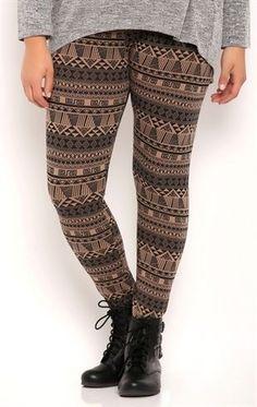 Deb Shops plus aztec striped cotton spandex printed #legging
