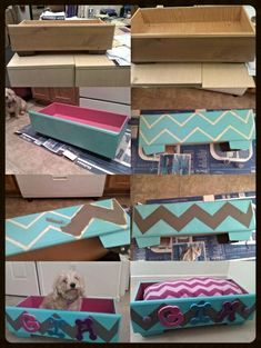 ♥ My DIY dog bed from a dresser drawer and no sew chevron bedding ♥