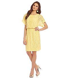 London Times Floral Lace Blouson Dress #Dillards