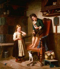 Julius Geerts   (1837 - 1902)  Kunststil:  Romantik  Werk:  Zwei Kinder mit Katze an einem Kachelofen     (1867)  Originalgröße:  47 x 60 cm  Technik  Öl  Standort:  Privatbesitz Ungarn
