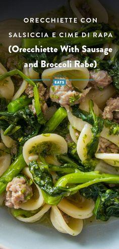 Blanching Broccoli, Pork Recipes, Pasta Recipes, Dinner Recipes, Cooking Recipes, Recipies, Broccoli Rabe And Sausage, Broccoli Rabe Recipe