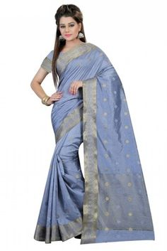 Fashion and trend will be at the peak of your splendor once you attire this grey art silk designer saree. This appealing dress is displaying some terrific embroidery done with patch border work. Designer Sarees Online, Art Silk Sarees, Weaving Art, Online Shopping Stores, Saree Wedding, Light Blue, Sari, Blouse, Model