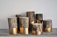 DIY Copper Fall Decor Ideas: Copper Dipped log Candle Holders