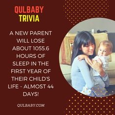 Qulbaby Trivia: A new parent will lose about hours of sleep in the first year of their child's life - almost 44 days! Baby Trivia, 6 Hours Of Sleep, Child Life, First Year, New Parents, Children, Kids, Parenting, Facts