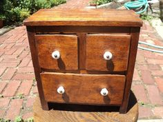 Antique Spice Chest Apothecary Cabinet , 3 Drawer, Walnut Wood, Porcelain Knobs