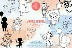 Black Silhouette, Animal Birthday, Jungle Animals, Vector Graphics, Design Bundles, How To Draw Hands, Doodles, Clip Art, Doodle