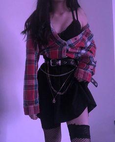 Mode Tutorial and Ideas Egirl Fashion, Teen Fashion Outfits, Edgy Outfits, Mode Outfits, Retro Outfits, Grunge Outfits, Cute Casual Outfits, Black Outfit Grunge, Korean Fashion