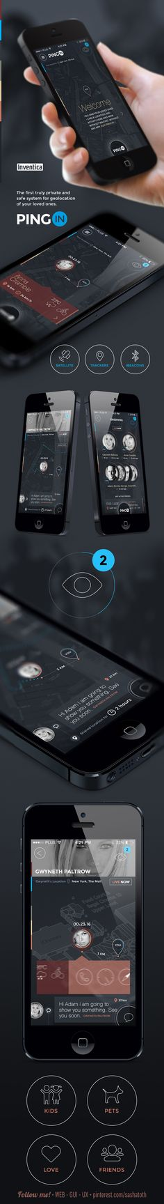 PINGin WIP by Adam Jesionkiewicz, via Behance *** #app #gui #ui #behance