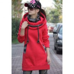 $14.68 Street Fashion Thicken Casual Long Sleeves Fleece Hoodie For Women