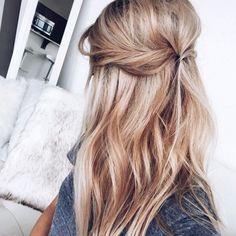 the clean prism honey blonde hair half up half down twist beachy waves vickys style hair