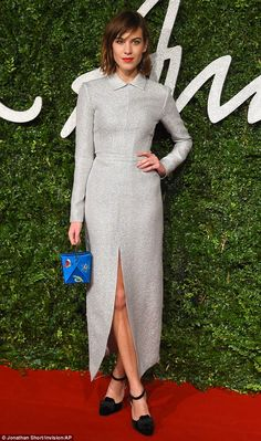 Putting her most fashionable foot forward: Alexa Chung wore a glamorous gown by British designer Emilia Wickstead