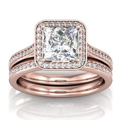 Rose Gold Princess Cut Halo Engagement Ring Setting and Matching Wedding Band