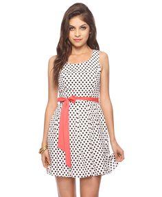 Polka Dot Dress w/Sash | FOREVER21 - 2000042618    This is too precious.