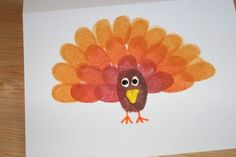 Thanksgiving Craft: Fingerprint Turkey Cards - click on picture for details ...
