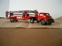 Vintage Toy Tin Firetruck Antique Japan.