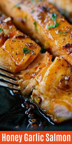 Honey Garlic Salmon in a skillet with yummy honey garlic sauce. This salmon dinn. - Honey Garlic Salmon in a skillet with yummy honey garlic sauce. This salmon dinner is so easy to ma - Baked Salmon Recipes, Seafood Recipes, Cooking Recipes, Healthy Recipes, Honey Recipes, Delicious Salmon Recipes, Dinner Recipes, Salmon Terrine Recipes, Salmon Recepies