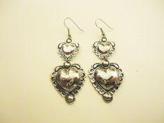by SophiaMariaDesigns on Etsy Heart Earrings, Silver Earrings, Drop Earrings, Etsy Shop Names, My Etsy Shop, Vintage Heart, Trending Outfits, Unique Jewelry, Handmade Gifts