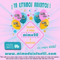 Mi&Mo Moda infantil Zaragoza abre su tienda online!! Este e-commerce se inaugura hoy con una oferta increible. 20% de descuento en toda la tienda y gastos de envío gratis!!!  Introduce el código de descuento mimo20 y aprovechate de nuestra oferta de apertura.