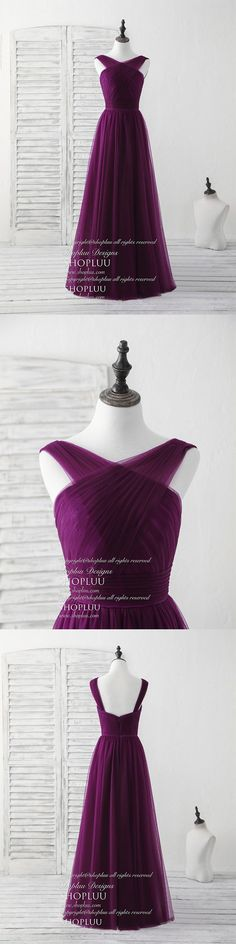 Purple v neck tulle long prom dress, tulle bridesmaid dress