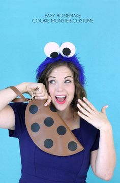 Easy Homemade Cookie Monster Costume Persia Lou Easy Homemade Cookie Monster Costume Persia Lou Everyday Jewish Mom everydayjewishmom Purim Costumes Learn how to make your own nbsp hellip Cookie Monster Halloween Costume, Easy Adult Halloween Costumes, Cookie Costume, Purim Costumes, Monster Costumes, Easy Costumes, Homemade Costumes, Homemade Halloween, Family Halloween Costumes