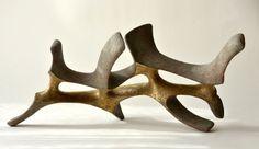 """""""Stability""""2015. Chamotte clay, engobe, glaze, gold. 39x20x18cm"""