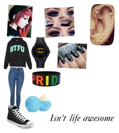 """""""Life is weird"""" by thefallenone-555 ❤ liked on Polyvore featuring United Couture, Topshop, Converse, Eos and Chanel"""