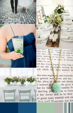 Navy, Mint and Grey - So pretty.  I love the barn wood table runner to set centerpieces on top of.  Thanks OneFabDay.com