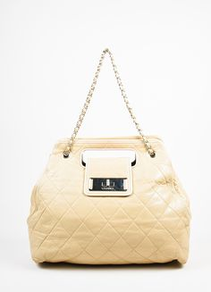 """Beige Chanel Leather Quilted Chain Strap Cut Out Handle """"Large East West"""" Bag"""