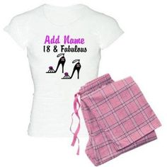 Cafepress Personalized Happy 18th Birthday Women's Light Pajamas, Size: Medium, Pink