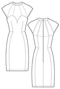 Siara dress - Body con dress. flat drawing by Ralph Pink