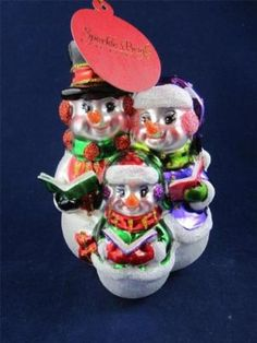 2012 Radko Sparkle Bright Christmas Snowman Family Singing Glass Ornament NWT