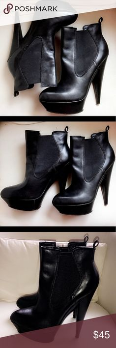 ASOS leather ankle boots Let's just say these ain't for the woman who is scared of a heel okkkkkkk. These boots give me life in every way and I'm still contemplating whether I should really sell them. great with a perfect pair of skinnies or leggings. In excellent condition... size 10 heel height from top to bottom 6 inches 💁🏽 ASOS Shoes Ankle Boots & Booties