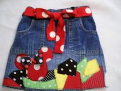 Minnie Mouse patch work  deco denim skirt by DancingDragonfly, $29.99