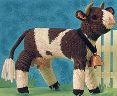 Free Knitting Pattern for Cow Toy Animal Knitting Patterns, Crochet Toys Patterns, Stuffed Toys Patterns, Loom Knitting, Free Knitting, Baby Knitting, Vintage Knitting, Knitted Dolls, Crochet Dolls