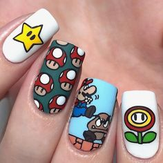 Crazy Nail Art, Crazy Nails, Funky Nails, Cute Nail Art, Dope Nails, Nail Art Diy, My Nails, Nails For Kids, Minimalist Nails