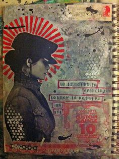 collage in art journal. Mix Media, Mixed Media Art, Collages, Collage Art, Smash Book, Illustrations, Graphic Illustration, Moleskine, Art Journal Pages