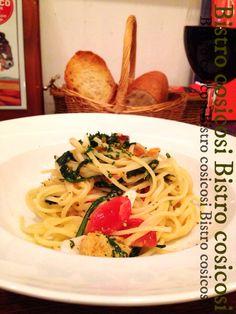 Bistro cosicosi❤︎ Today's Dinner❤︎ date❤︎2015.1  ⋈春菊とボッタルガのスパゲッティ ⋈北海道産鴨のロースト  ~マルサラワインソース~   #ビストロコジコジ