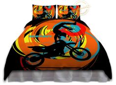 Motocross Comforter Set - Black, Orange, Teal, Yellow - Motocross Comforter…