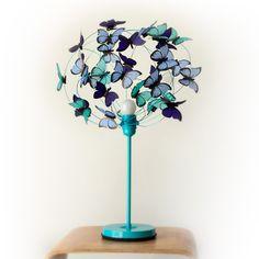 """Lámparas de mesa - Lampara turquesa con mariposas """"Maria in my hert - hecho a mano por Marcela-Delacroix en DaWanda"""