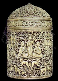 Francia paris museo del louvre-interior bote de marfil del principe al-mughira procede de medina azahara -968 - detalle de musicos